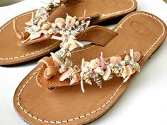seashell flip flops leather sandals with shell summer flats leather