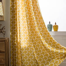 Yellow Window Curtains Fish Scale Pattern Yellow Window Curtain For Living Room Bedroom