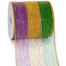 mardi gras deco mesh 6 poly deco mesh ribbon metallic mardi gras 25 yards rs2039c6