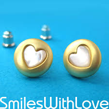allergy free jewelry simple gold stud earrings with heart shaped detail allergy