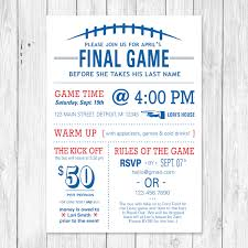 the final game football themed bachelorette party invite