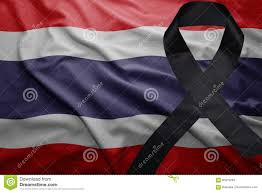 Flag Of Thailand Flag Of Thailand With Black Mourning Ribbon Stock Image Image Of