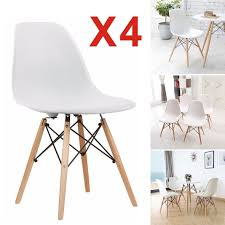 2 4x Retro Replica Eames Eiffel Dining Chair Cafe Kitchen Beech