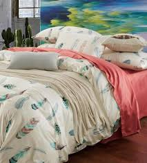 colorful feather bedding set king size pink bed