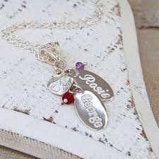 name charm necklace personalised silver name charm birthstone necklace indivijewels