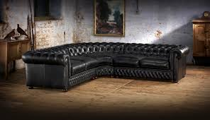 chesterfield sofa in living room furniture elegant l shaped black leather chesterfield sofa for