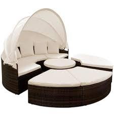 canapé lit rond bain de soleil rond ø 230 cm brun noir avec 4 coussins canapé lit