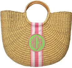 monogrammed baskets monogrammed half moon basket bag