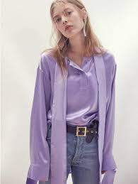 purple silk blouse moontan 17ss neck tie silk satin blouse light purple