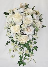 cascading bouquet rustic rich ivory roses green sprays silk cascading bouquet