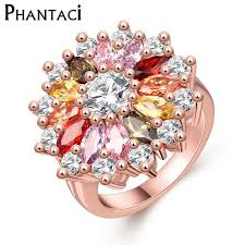 large ladies rings images Women big flower party ring with cz crystal rose gold color large jpg
