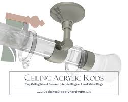 Decorative Traverse Dry Rods Decorative by Polished Nickel Ceiling Mount Clear Acrylic Curtain Rod Metal Or