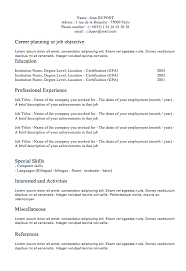 classic resume template learnhowtoloseweight net