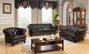 Chesterfield Sofa Set 3pc Top Grain Leather Chesterfield Sofa Set Rich Burgundy Finish