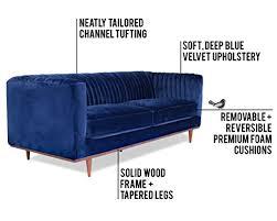 Blue Modern Sofa Foxley Blue Velvet Sofa Midcentury Modern Sofa For Living Room