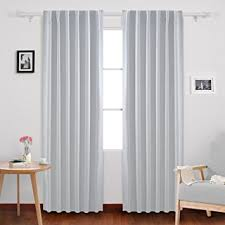 Gray And White Blackout Curtains Deconovo Back Tab And Rod Pocket Curtains Blackout