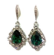 emerald green earrings emerald green bridal earrings swarovski teardrop jewelry bijoux