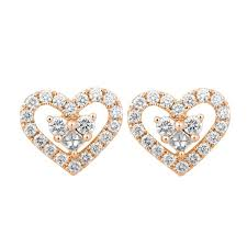 heart shaped earrings 0 60ct f i1 diamond heart shaped stud earrings