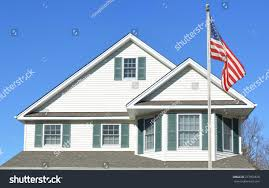 Front Porch Flag Pole American Flag Pole Suburban Home Roof Stock Photo 277902878