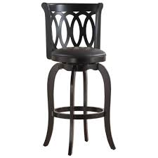Wood Bar Chairs Black Natural Wood Bar Stool With Back And Round Leather Pad