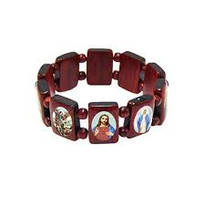 saints bracelet elasticated wooden catholic saints bracelet images of jesus