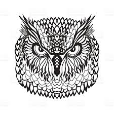 eagle owl head tribal sketch for tattoo or stock vector art