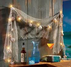 net decor fish net sea shells light strand outdoor decor great idea this