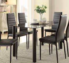 Dining Room Table Black Homelegance Florian Rectangular Black Glass Table Top Dining Table