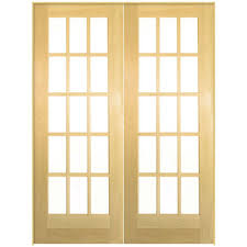 masonite 48 in x 80 in smooth 15 lite hollow core unfinished smooth 15 lite hollow core unfinished pine prehung interior french door 71635 the home depot
