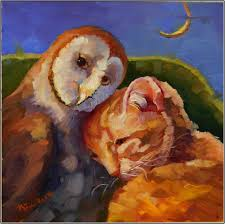 Barn Owl Holidays Pea Green Boat 8x8 Oil On Panel Owls Barn Owl Cat Kitten