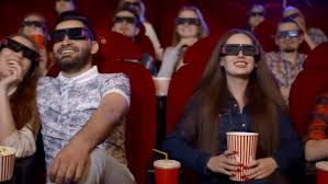 comedy film video clip young people watch movies in cinema watch a comedy in 3d all