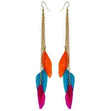feather earrings online india buy via mazzini colourful tri colour feather earrings online