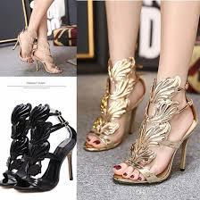 wedding shoes glasgow new arrival leaf wing high heel sandals gold black prom