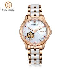 ceramic bracelet watches images Starking fashion ladies mechanical watches rose gold watches women gif