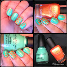 nail art mint green and textured orange polish lacquerexpression