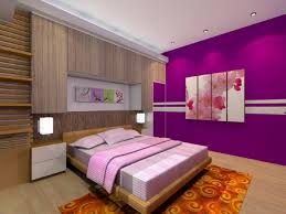 cool bedroom design for women in their 20s with purple color