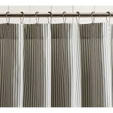 Gray Ruffle Shower Curtain Pottery Barn Ticking Stripe Ruffle Shower Curtain Polyvore
