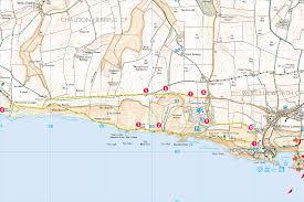 Dorset England Map by Walk South West Coast Path