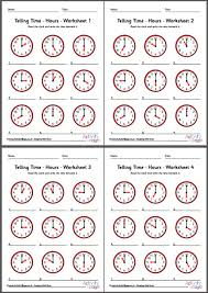telling time worksheets hours pack 1