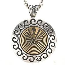 beaded necklace ebay images Man in the maze silver gold hopi pendant with bead necklace ebay jpg