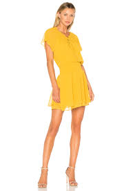 bcbgeneration short sleeve blouson dress in golden rod in golden