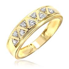 gold wedding rings for men 1 5 carat t w diamond men s wedding ring 10k yellow gold