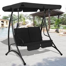 Swing Chairs For Patio Costway Black 2 Person Canopy Swing Chair Patio Hammock Seat