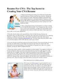 Sample Of Nursing Assistant Resume by Cna Resumecna Resumes Examples Cna Resume Objective Examples