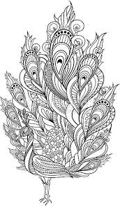 zentangle peacock coloring page vector tribal decorative peacock