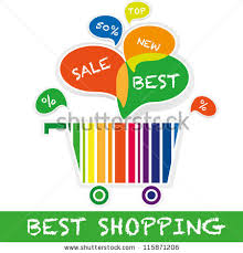 best shopping concept shopping cart colored stock vector 115871206