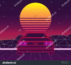 futuristic cars retro future 80s style scifi background stock vector 601755050