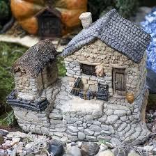 Garden Stone Craft - fairy garden stone cottage with tool shed fairy garden
