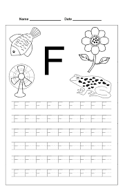 letter f trace line worksheet preschool crafts