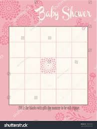 baby shower bingo game template round stock vector 178670957